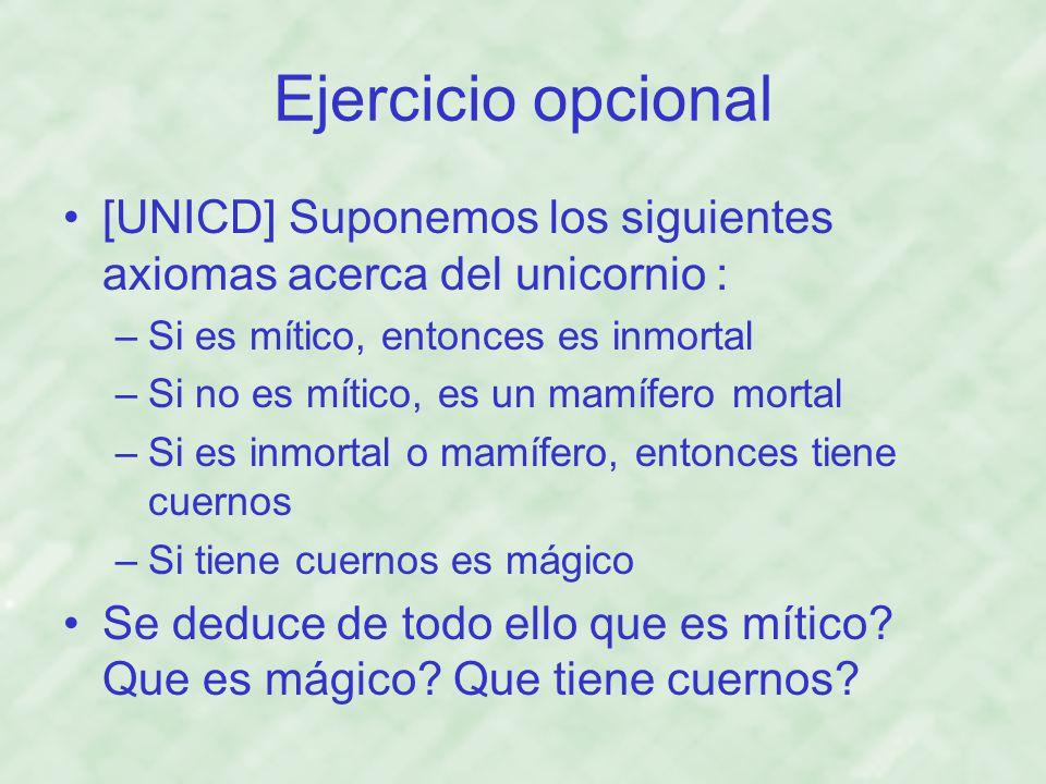 Ejercicio opcional [UNICD] Suponemos los siguientes axiomas acerca del unicornio : Si es mítico, entonces es inmortal.